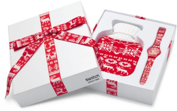 Swatch Red Knit, el reloj navideño de la marca suiza